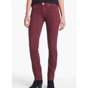 Tory Burch Super Skinny size 26 Mid-Rise Designer Jeans Maroon Stretch Denim
